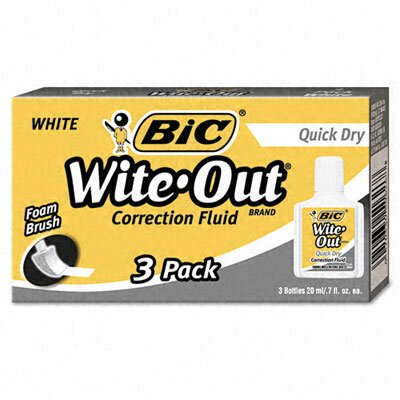 Bic Corporation 20 Ml Bottle Wite-Out Quick Dry Correction Fluid (3/Pack)