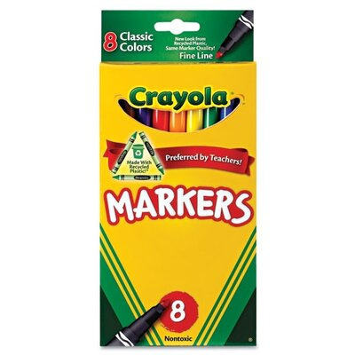 Crayola LLC Non-Washable Markers, Fine Point, Classic Colors, 8/Set