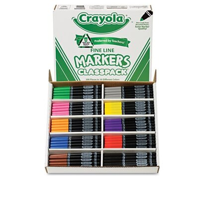 Crayola LLC Washable Classpack Fine Point Markers (10 Assorted Colors, 200/Box)