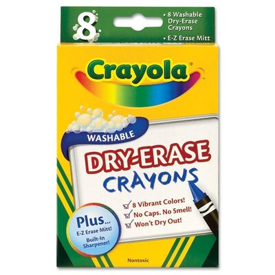 Crayola LLC Dry Erase Crayons, Assorted, 8 per Pack