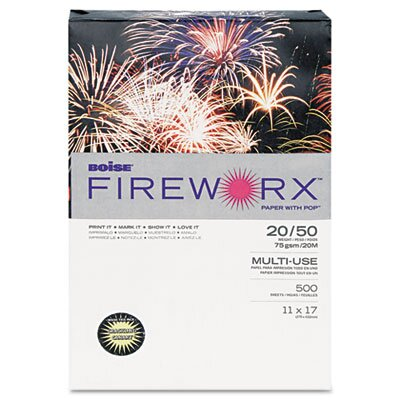 Boise® Fireworx Colored Paper, 20 lbs., 11 x 17, Bottle Rocket Blue, 500/Ream