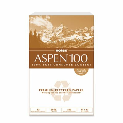Boise® ASPEN 100 Office Paper, 92 Brightness, 20lb, 11 x 17, White, 2500 Sheets/Carton