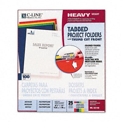 C-Line Products, Inc. Heavyweight Tabbed Jacket Project Folders (25/Box)