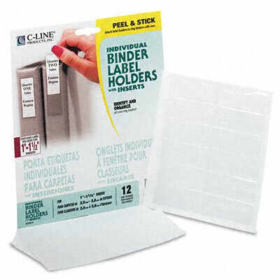 C-Line Products, Inc. Self-Adhesive Ring Binder Label Holders, 3/4 X 2-1/2 (12/Pack)
