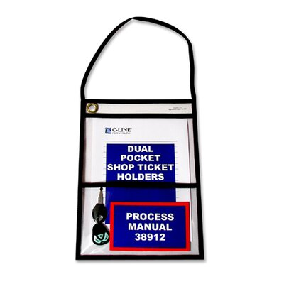 "C-Line Products, Inc. Shop Ticket Holders, w/ Hanging Strap, 9""x12"", 15 per Pack, Clear"