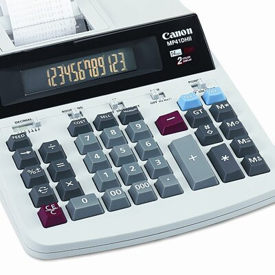 Canon MP41DHII Desktop Calculator, 14-Digit GLOview LCD, Two-Color Printing, Black/Red