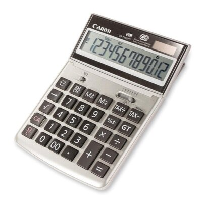 "Canon 12-Digit Desktop Calculator, 7-3/4""x5-1/4""x1-1/8"", Beige"
