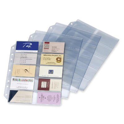 Cardinal Brands, Inc Refill Pages, For Card File Binder, 200-Card Capacity, 10 per Pack, Clear