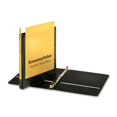 "Cardinal Brands, Inc EconomyValue ClearVue Round-Ring Binders, Non-locking, 5/8"" Capacity, Black"