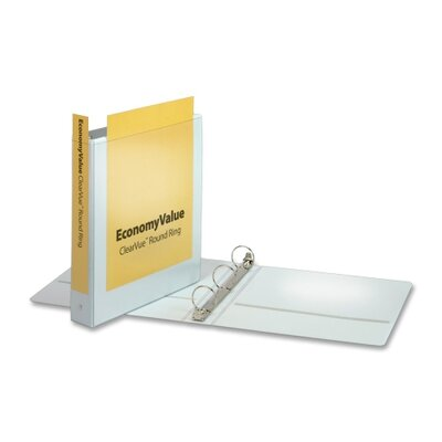 "Cardinal Brands, Inc EconomyValue ClearVue Round-Ring Binders, Non-locking, 1-1/2"" Capacity, White"