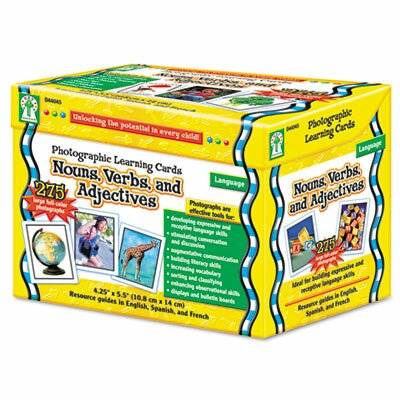 Carson-Dellosa Publishing Photographic Learning Cards Boxed Set, Nouns/Verbs/Adjectives, Grades K-12