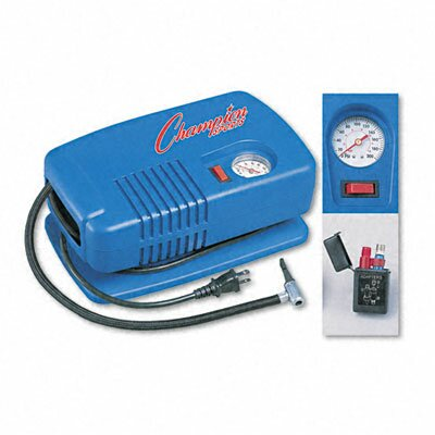 Champion Sports Electric Inflating Pump with Gauge, Hose and Needle, 1/4 Hp Compressor