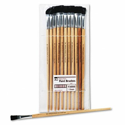 "Charles Leonard Co. Flat Fine-Grade Natural Bristle Easel Brush, Hardwood Handle, 1/2"" Wide, 12 per pack"