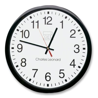 "Charles Leonard Co. Wall Clock, 12"", Plastic, Black Frame/White Dial"