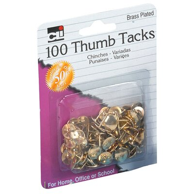 """Charles Leonard Co. 0.38"""" Brass Plated Thumb Tack 100 Count"""