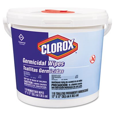 Clorox Company Germicidal Wipes, 12 x 12, White, 110/Canister