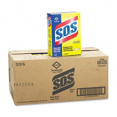 Clorox Company S.O.S Steel Wool Soap Pad, 15 Pads/box, 12 Boxes/carton