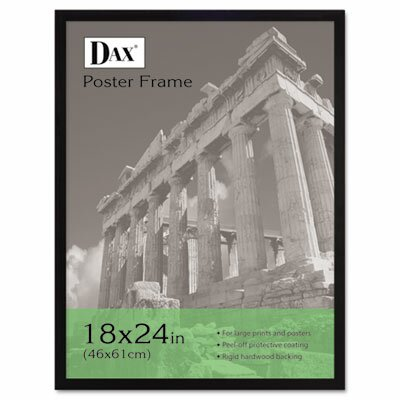 DAX® Flat Face Wood Poster Frame with clear plastic window, 18 x 24, Black