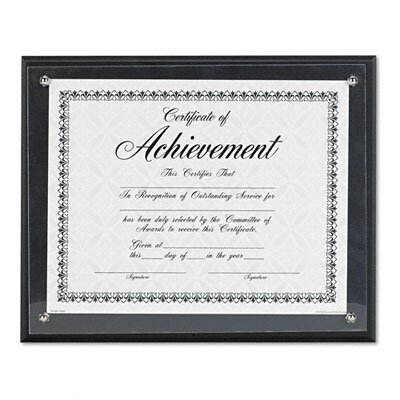 DAX® Award Plaque, Wood/Acrylic Frame, fits up to 8-1/2 x 11, Black