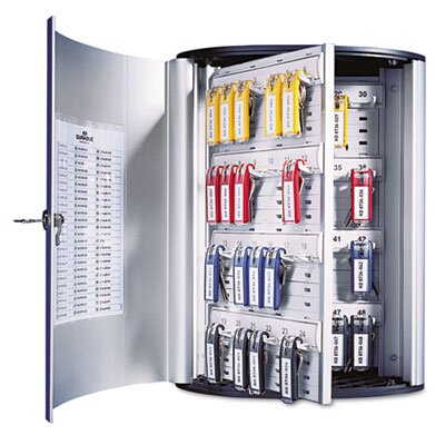 Durable Office Products Corp. Locking Key Cabinet, 36-Key, Brushed Aluminum, 11 3/4 X 4 5/8 X 11