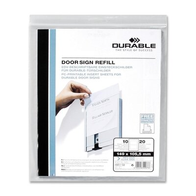 Durable Office Products Corp. Replacement Paper Inserts, f/ 480123, 10/PK White