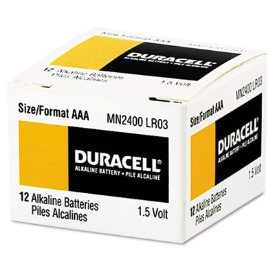 Duracell Coppertop Alkaline Batteries, AAA, 24/box