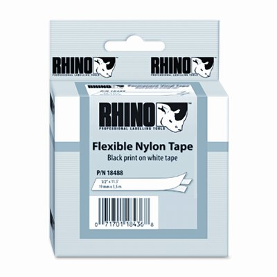 "Dymo Corporation Rhino Flexible Nylon Industrial Label Tape Cassette, 0.5"" x 11.5'"