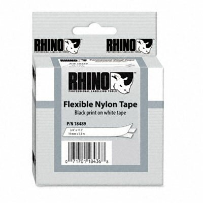 "Dymo Corporation Rhino Flexible Nylon Industrial Label Tape Cassette, 0.75"" x 11.5'"