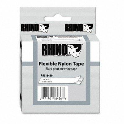 "Dymo Corporation Rhino Flexible Nylon Industrial Label Tape Cassette, 0.75"" x 11.5'"