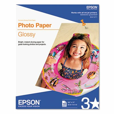 Epson America Inc. Glossy Photo Paper, 60 Lbs., 8-1/2 X 11, 100 Sheets/Pack