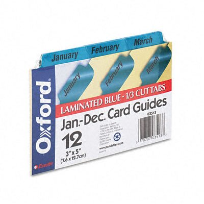 Esselte Pendaflex Corporation Oxford Laminated Index Card Guides, Monthly, 1/3 Tab, 3 X 5 (Set of 12)