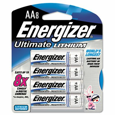 Energizer® e² Lithium Batteries, AA, 8/pack