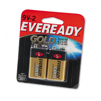 Energizer® Eveready Gold Alkaline Batteries, 9V, 2 Batteries/Pack