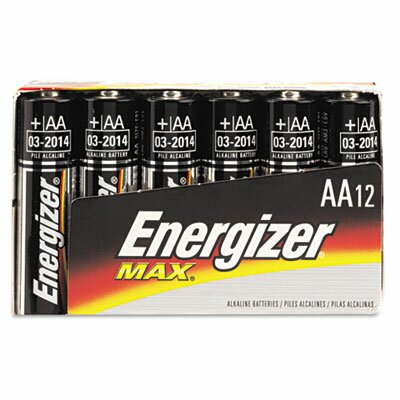 Energizer® Max Alkaline Batteries, Aa, 12 Batteries/Pack