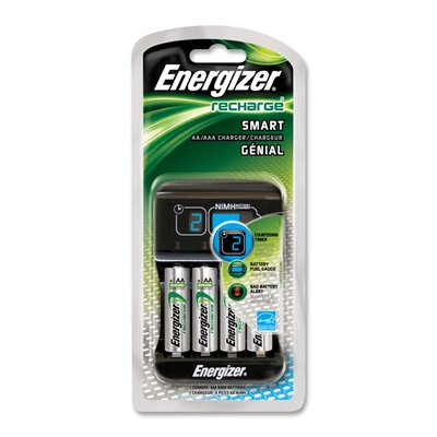 Energizer® Smart Charger for AA/AAA Rechargeable Batteries, Green/Silver