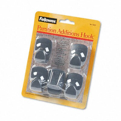 Fellowes Mfg. Co. Plastic Partition Additions Hooks, 5/Pack