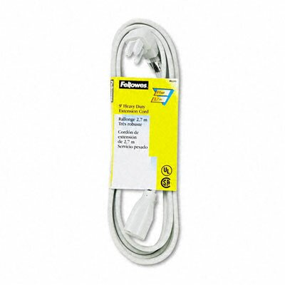 Fellowes Mfg. Co. Indoor Heavy-Duty Extension Cord, 3-Prong Plug, 1 Outlet, 9-Ft. Length