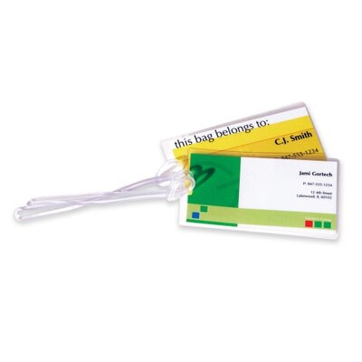 "Fellowes Mfg. Co. Self-Adhesive Laminating Pouches, Lug Tag w/Slot, 4-1/4""x2-1/2"", 5/PK, CL"