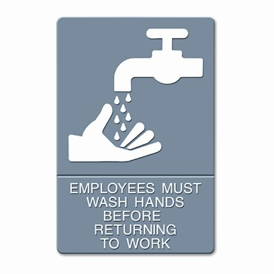 GBC® Headline Sign Ada Sign, Employees Must Wash Hands... Tactile Symbol/Braille