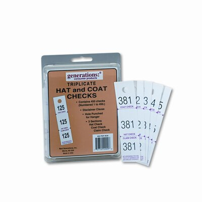 Generations® Safco Three-Part Coat Room Checks, Paper, 500/Pack