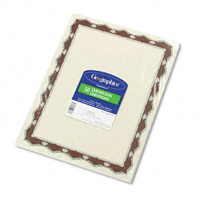 GEOGRAPHICS Parchment Paper Certificates, Red Crown Border, 50/Pack