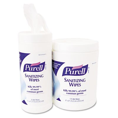 GOJO Industries Purell Premoistened Sanitizing Wipes, Cloth, 6 x 8, 35/canister