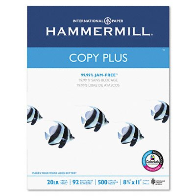Hammermill Copy Plus Copy Paper, 92 Brightness, 20Lb, 5000 Sheets/Carton