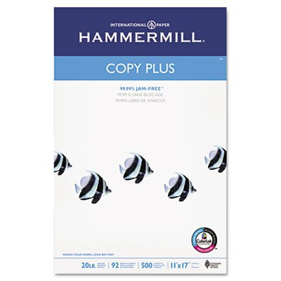 Hammermill Copy Plus Multipurpose Copy Paper, 92 Bright, 20lb, 11 x 17, White, 500 Sheets