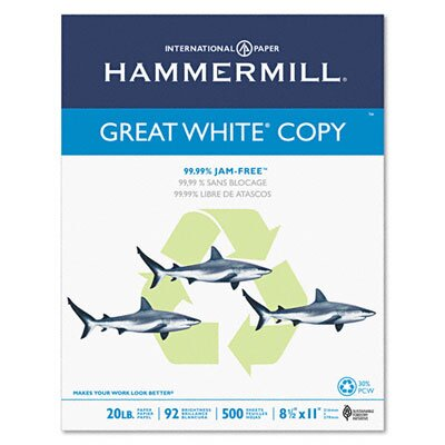 Hammermill Great White Recycled Copy Paper, 92 Brightness, 20Lb, 5000 Shts/Carton