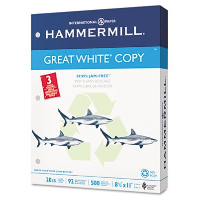 Hammermill Great White Recycled Copy 3-Hole Punched Ppr, 92 Brightness, 20Lb, Ltr, 5000/Carton