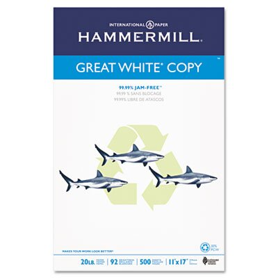 Hammermill Great White Recycled Copy Paper, 92 Brightness, 20Lb, 500 Sheets/Ream