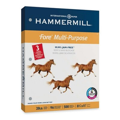 "Hammermill MP Paper,20Lb,3-Hole,8-1/2""x11"",96 GE/112 ISO,WE"