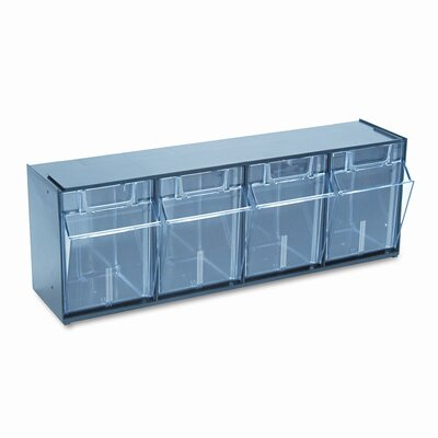 Deflect-O Corporation Tilt Bin Plastic Storage System with 4 Bins