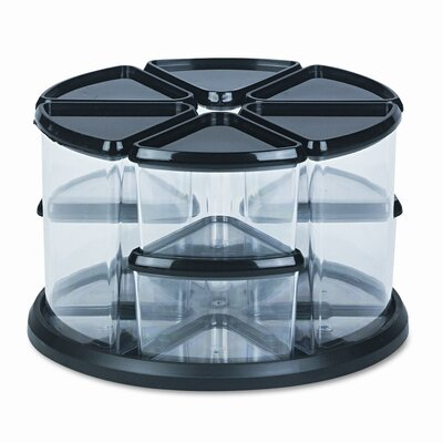 Deflect-O Corporation Nine Canister Carousel Organizer, Plastic, 11 1/8w x 11 1/8h, Black/Clear